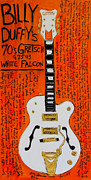 Gretsch Guitar Framed Prints - Billy Duffy Gretsch White Falcon Framed Print by Karl Haglund