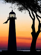 Joan Mccool Art - Biloxi Lighthouse at Dusk by Joan McCool