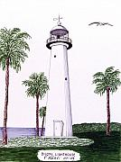 Historic Buildings Images Drawings Framed Prints - Biloxi Lighthouse Framed Print by Frederic Kohli