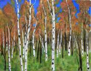 Country Scenes Painting Prints - Birch Wood Grove Print by James DRYSDALE