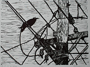 Block Print Drawings - Bird on a Wire by William Cauthern