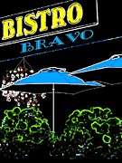 Umbrellas Digital Art Framed Prints - Bistro Bravo Framed Print by Will Borden