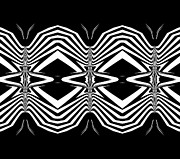 Op Art Digital Art Posters - Black and White Pattern Art No.302. Poster by Drinka Mercep