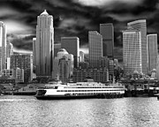 Samantha Framed Prints - Black and White Seattle Framed Print by Samantha Panzera