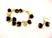Gold Earrings Art - Black Bracelet And Earrings by Gorean Olga