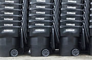 Garbage Photo Prints - Black Garbage Bins Print by Don Mason