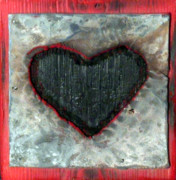 Love Sculpture Prints - Black Heart Print by Jane Clatworthy
