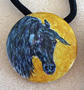 Watercolor Jewelry Originals - Black Horse Ponytail Holder by Connie Owens