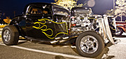 Classic Car.hot-rod Photos - Black Hot Rod Big Engine by Pictures HDR
