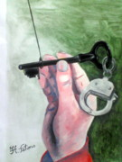 Surrealistic Paintings - Black key by Fatima Hameurlaine