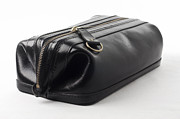 Handbag Posters - Black leather bag Poster by Blink Images