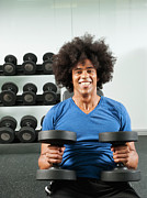 Self-portrait Photos - Black Man Lifting Dumbbells In Gym by Erik Isakson