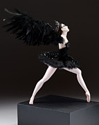 Dancers Mixed Media Acrylic Prints - Black Swan  Acrylic Print by Vickie Arentz