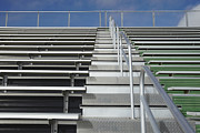 High School Sports Prints - Bleachers at a Sports Field Print by Skip Nall