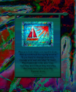 Sailboat Ocean Tapestries - Textiles Prints - Blessings 2 Print by Sue Duda