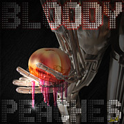 Juicy Glass Art Posters - Bloody Peaches Poster by Lance  Kelly