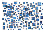 Glass Drawings Prints - Blue Abstract Rectangles Print by Frank Tschakert