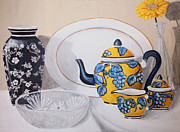 Teapot Paintings - Blue and Yellow by Amanda Hooser