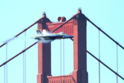 Brdige Prints - Blue Angels Crossing the Golden Gate Bridge 5 Print by Wingsdomain Art and Photography