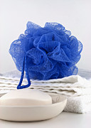 Vanity Prints - Blue bath puff Print by Blink Images