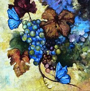 Blue Grapes Mixed Media Prints - Blue Butterflies  Print by Peggy Wilson