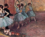 Performance Painting Framed Prints - Blue Dancers Framed Print by Edgar Degas