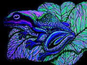 Amphibians Digital Art Prints - Blue Frog Print by Nick Gustafson