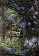 Original Oil  Doug Kreuger Paintings - Blue Garden Respite by Doug Kreuger