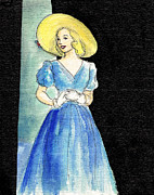 Picture Hat Drawings Framed Prints - Blue Gown Framed Print by Mel Thompson