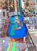 Cities Digital Art - Blue Guitar 2 by Sarah Loft
