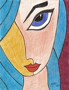 Red Lips Drawings - Blue Haired Girl by Ray Ratzlaff
