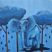 Raining Pastels Posters - Blue Poster by Juliet Magill