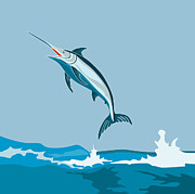 Animals Digital Art Posters - Blue Marlin Fish Jumping Retro Poster by Aloysius Patrimonio