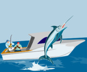 Game Fish Digital Art Posters - Blue marlin jumping Poster by Aloysius Patrimonio