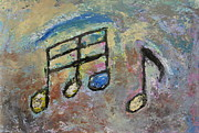 Musical Notes Painting Originals - Blue Note by Anita Burgermeister
