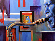 Jazz Painting Originals - Blue Spaces by Gary Williams