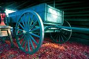 Wagon Wheels Photos - Blue wagon by David Lee Thompson