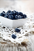 Wooden Bowl Photos - Blueberries by Kati Molin