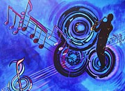Original  By Artist Paintings - Blues and Purple Rhapsody by Bill Manson