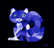 Felines Painting Prints - Blues Cat Print by Nick Gustafson