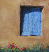 Entrance Door Pastels Prints - Blumenscheins Window Print by Julia Patterson