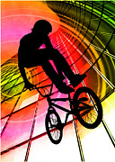 Figures Silhouettes Young Sport Grunge Athletes Prints - BMX in Lines and Circles Print by Elaine Plesser