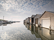 Boathouses Photos - Boat Houses at Lake Erie by Oleksiy Maksymenko