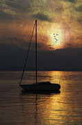 Dawn Posters - Boat In Sunset Poster by Joana Kruse