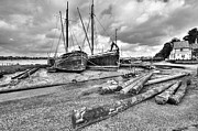 Repairs Metal Prints - Boats and logs at Pin Mill Metal Print by Gary Eason