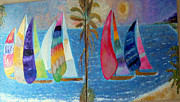 Ocean Reliefs Prints - Boats at sunset Print by Vicky Tarcau