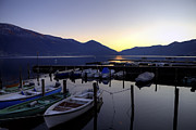 Ticino Framed Prints - Boats In The Sunset Framed Print by Joana Kruse
