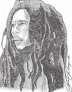 Freedom Drawings Posters - Bob Marley Poster by Jason Kasper