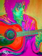 Music Digital Art - Bob Marley on Acoustic Guitar by Maria Bohabot