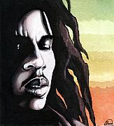 Music Legend Mixed Media Framed Prints - Bob Marley Portrait Framed Print by Alban Dizdari